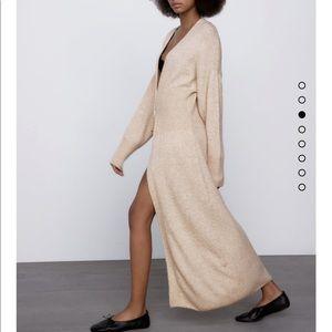 Zara wool blend knit coat bloggers fav